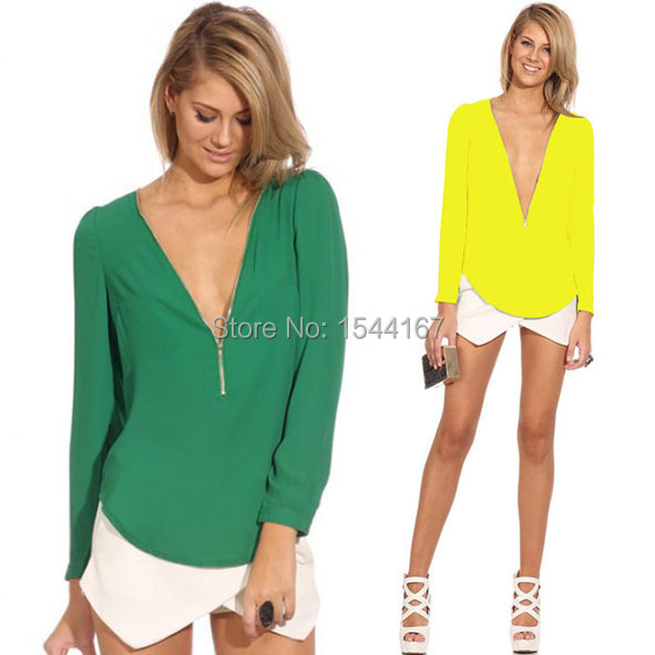 New! High quality fashion sexy mini chiffon V-neck long-sleeved temperament ladies candy color 6 color options(China (Mainland))