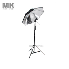 Photo Studio Lighting Umbrellas Video Light kit 33″ Black & Silver umbrella + E27 T-bulb holder + W803 light stand