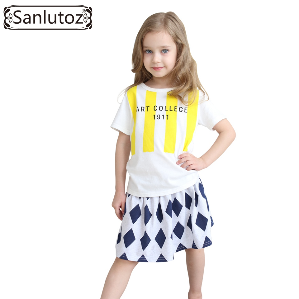 Children Clothing Set Summer Girls Clothes Cotton Kids Sport Suits for Girls 2016 Brand (Tshirt + Skirt) Toddler Dress Set
