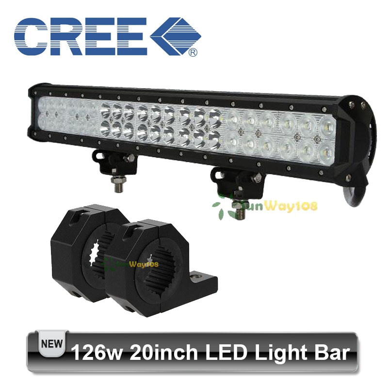 20 inch Cree 126W LED Work Light + Bumper Bull Bar Mounting Brackets 42* 3w Combo Beam Offroad Vehicles ATV UTV SUV(China (Mainland))