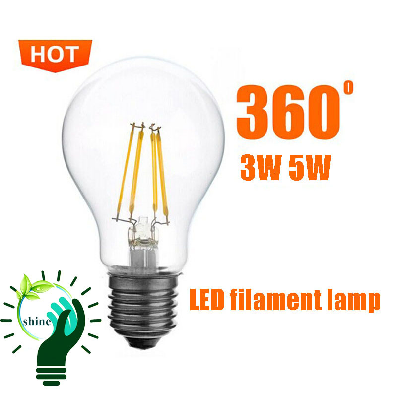 5Piece/lot Hot sale 360 light degree 3W 5W E27 LED filament lamps LED bulb light 220V Big order can be E14 B22 LED bulb(China (Mainland))