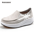 2016 Suede Casual Shoes Woman Flat Platform Shoes Womens Slimming Walking Shoes Heels zapatillas deportivas mujer