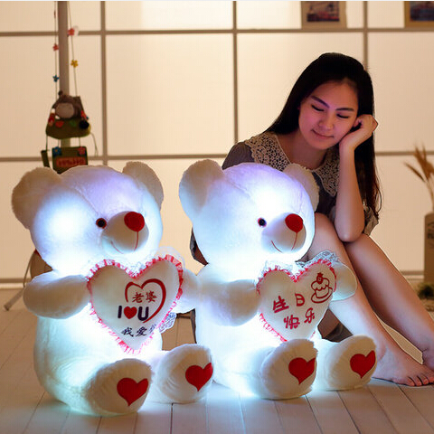 luminescence bear I LOVE YOU stuffed baby toys for children birthday 1 piece 2015 new arrived induction Singing plush toys(China (Mainland))