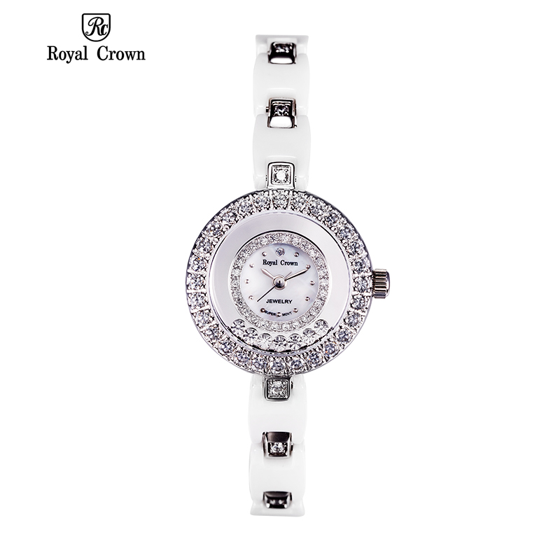 Royal Crown 5308 Italy Brand MIYOTA Switzerland Diamond Authentic ceramic quartz watch women table  Bracelet relogio feminino