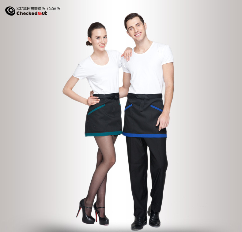 Fashion explosion models short hotel restaurant waiter aprons work aprons spell color fashion short paragraph kitchen aprons(China (Mainland))
