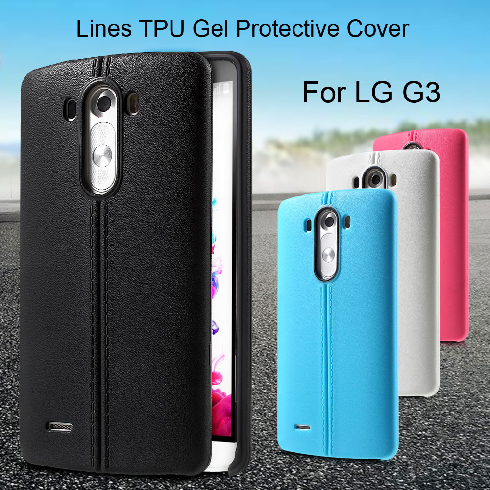 Mobile Phone Bag Lines TPU Gel Protective Cover for LG G3 Phone Case(China (Mainland))