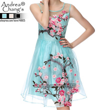 2016 early spring summer designer women's dresses blue beige black 3d flower embroidery fashion vintage brand event dress gown(China (Mainland))