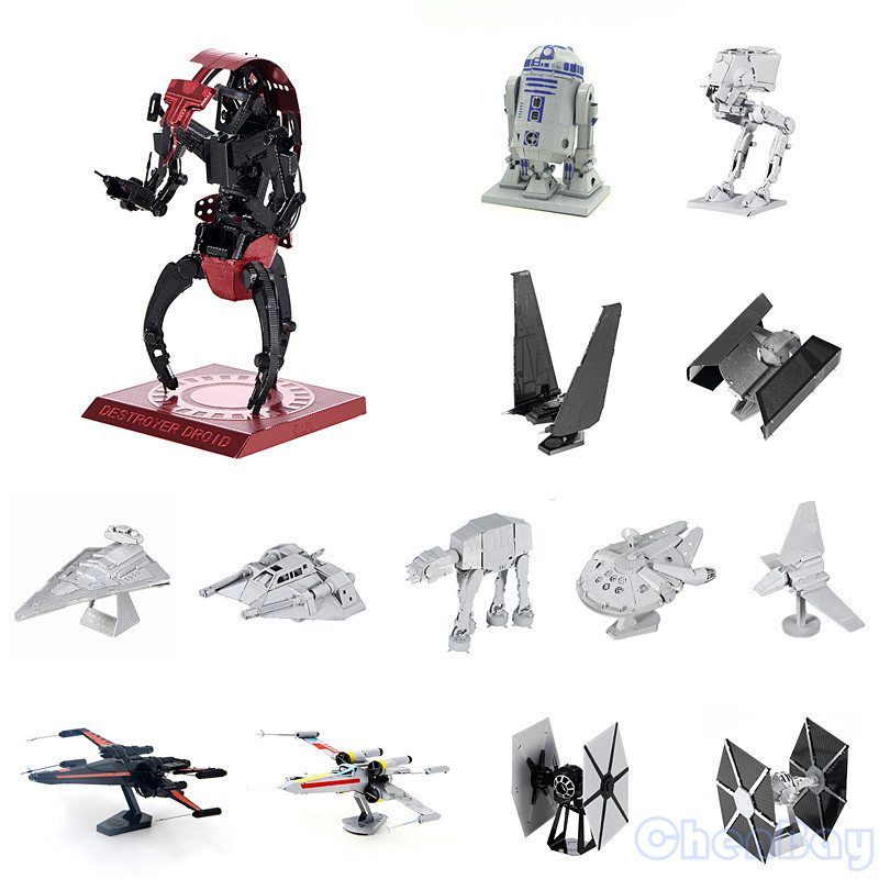 Colorful Star Wars 3D Metal Puzzle Mini 3D Building Model Kits From Laser Cut Metal Sheets for Kids Educational Toys with PC Box(China (Mainland))