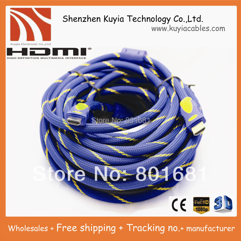 KUYiA Tracking number+Free Shipping+HDMI TO HDMI CABLE CORD 5M 16FT Male M/M for HDTV 1.4 wholesales+Best quality next
