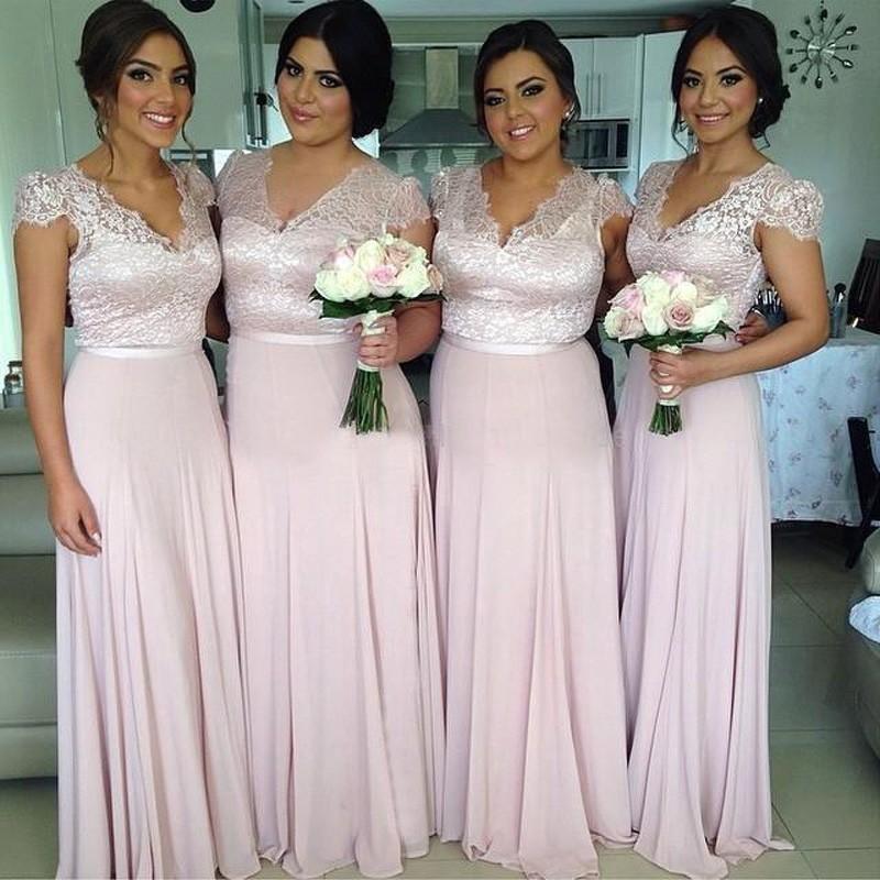 Cap рукавом кружева с створки конкурс свадебное ну вечеринку платье v-образным вырезом кружева длинные платья платье подружки невесты свадебные платья novia