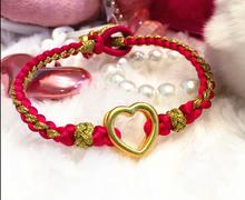 999 Pure 24K Yellow gold Heart Pendant  Colour Weave String Bracelet(China (Mainland))