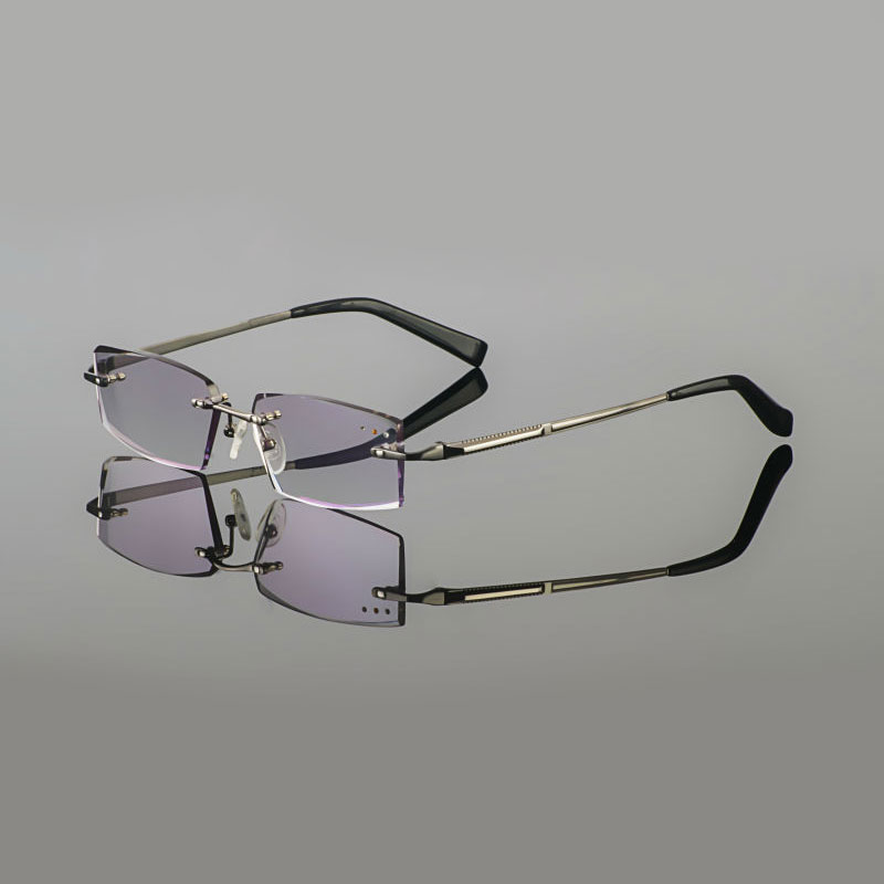 Latest Trimming titanium eyewear Frame male models diamond trimming Gun Metal rimless finished prescription glasses for Men(China (Mainland))