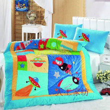 Free shipping rocket space kids 2pcs bedding sets applique embroidery astronaut from Moon UFO 1 comforter cover and 1 pillowcase(China (Mainland))