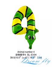 Wholesales Free Shipping 19inch Animals number 4 balloon Number Figure Balloon for Party Decoration 50pcs/lot