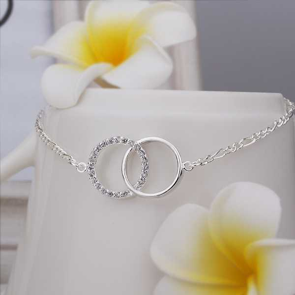 Girls Silver plated jewelry Insets Double Circle anklet bracelets bangles leg for women TOP QualitySMTA005(China (Mainland))