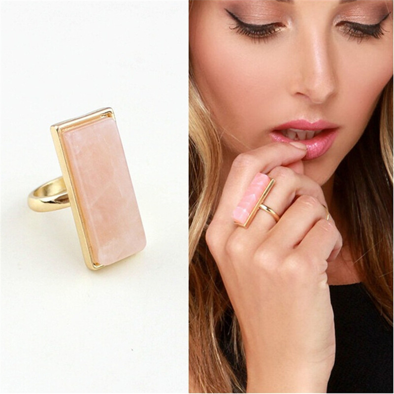 1pc charms bohemian unique gold plated square natural quartz stone finger rings vintage joint mid ring for womens anel jewelry(China (Mainland))