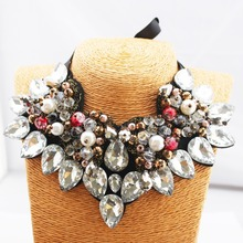 2016New design Brand Ribbon Chain Rhinestone Necklace Unique Statement Necklace For Women Jewelry(China (Mainland))