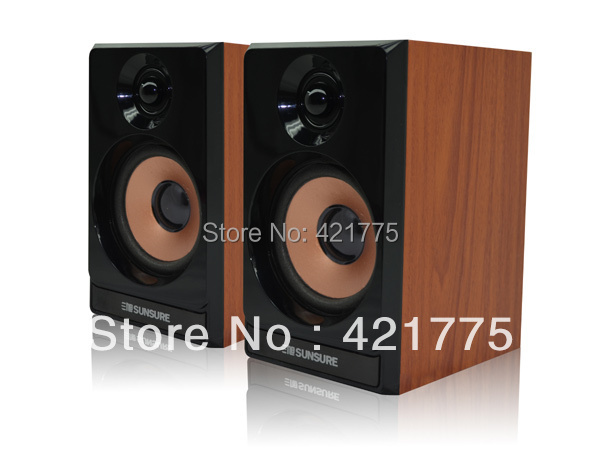 Professional 5W USB 2.0 Power Wooden Speakers Real Wood Case Volume Control Hairline for Laptop Tablet Computer PC Speaker(China (Mainland))