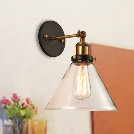 Фотография Loft Style Iron Glass Vintage Wall Lamp Bedside Wall Light Fixtures For Dining Room Edison Wall Sconce Indoor Lighting