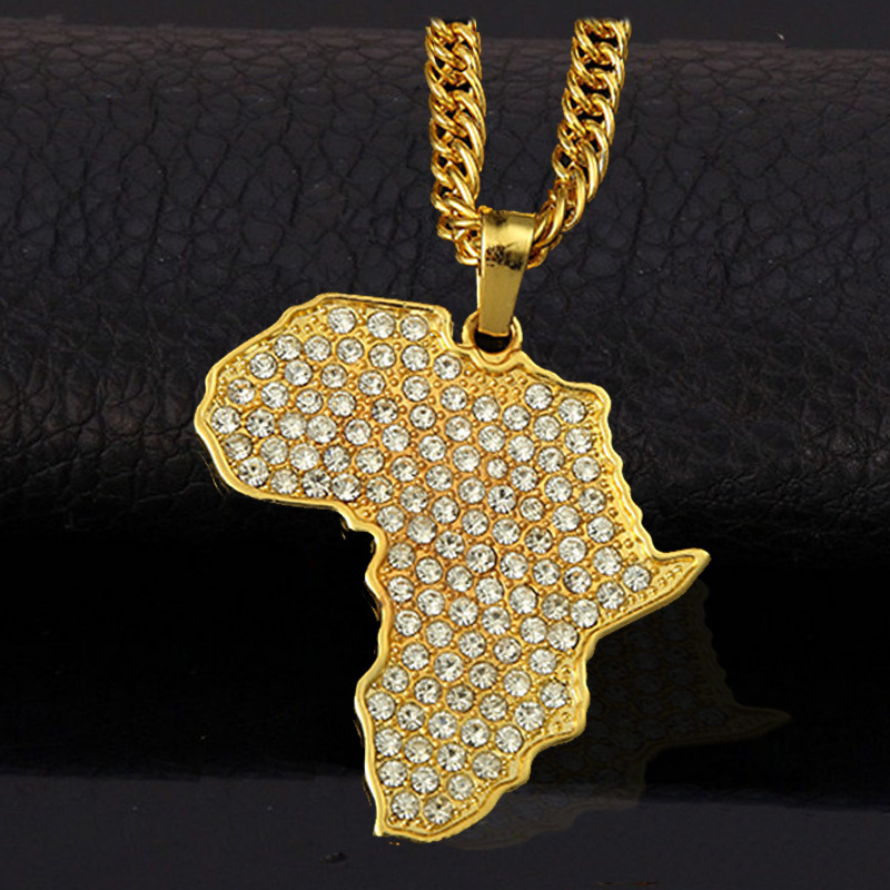2015 Africa map pendant necklace women girl 18K gold plated fillde jewelry men 80cm african gold chain wholesale(China (Mainland))