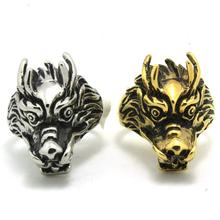 Europe Style Mens Boys 316L Stainless Steel Punk Gothic Golden & Silver Dragon Head Newest Ring