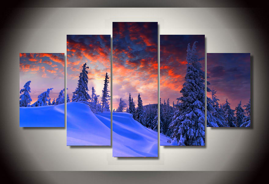 Modern Decorative Picture Printed Winter Snow Picture Painting Wall Art Room Decor Print Poster Picture Canvas Wall Art
