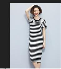 2016 Slim Striped Brief Women Causal Dress Round Neck Black White Knitted Vestido De Festa Stretch Fashion Euro Style Femme Robe(China (Mainland))