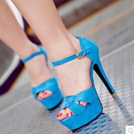 Women new fashion spring summer Brief elegant thin sexy 13.5cm ultra high heels open toe 5cm platform sandals buckle shoes(China (Mainland))