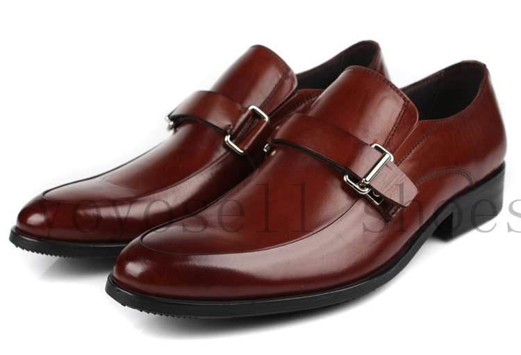 Фотография Brown tan loafers shoes mens dress shoes genuine leather pointed toe party shoes mens wedding shoes