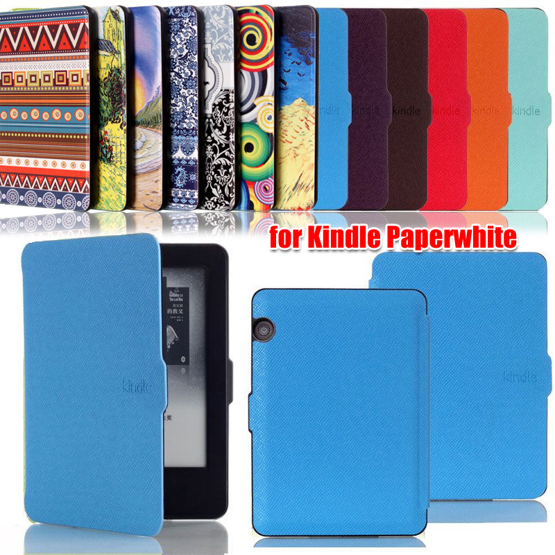 New Luxury Elegant Smart Ultra slim Pu leather case cover for Amazon Kindle Paperwhite/paperwhite3(New model)(China (Mainland))