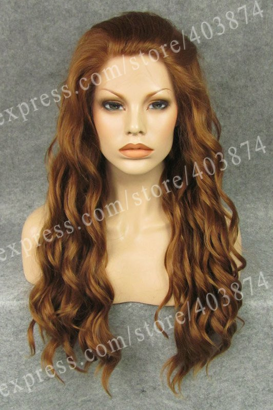 Long Water Wavy Blonde Color Synthetic  Lace Hair Wig for Party<br><br>Aliexpress
