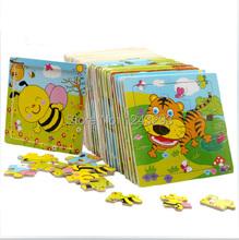 Historieta del bebé animal jigsaw rompecabezas junta de 2-5 años de edad del niño tangram madera juguetes para niños rompecabezas juguetes de aprendizaje educativo unisex