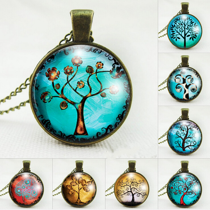Vintage tree pendant necklace life tree picture glass cabochons antique bronze chain necklace fashion jewelry for
