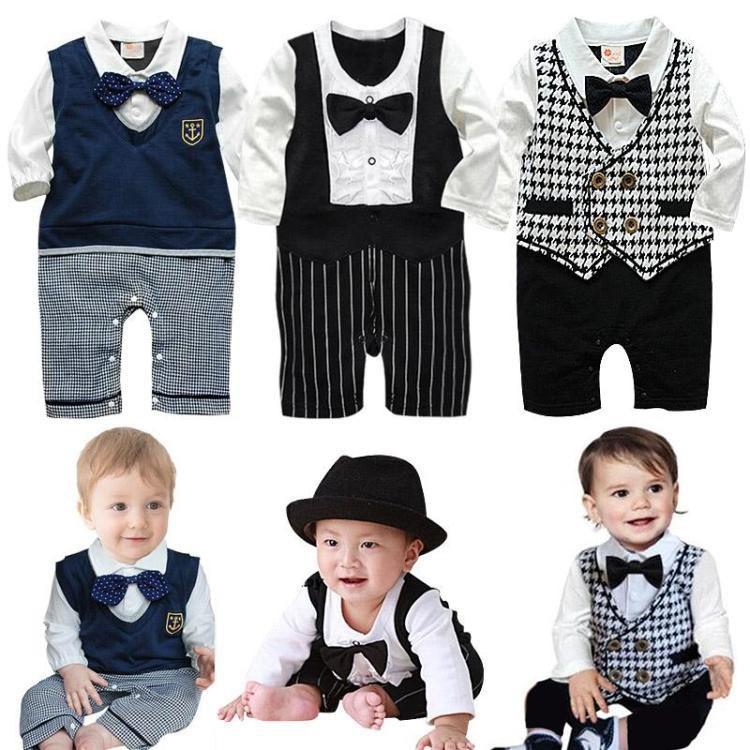 Гаджет  2014 New baby boys romper newborn gentleman bow tie suits spring autumn bebe jumpsuit costume infant clothes roupas de bebe 490A None Детские товары