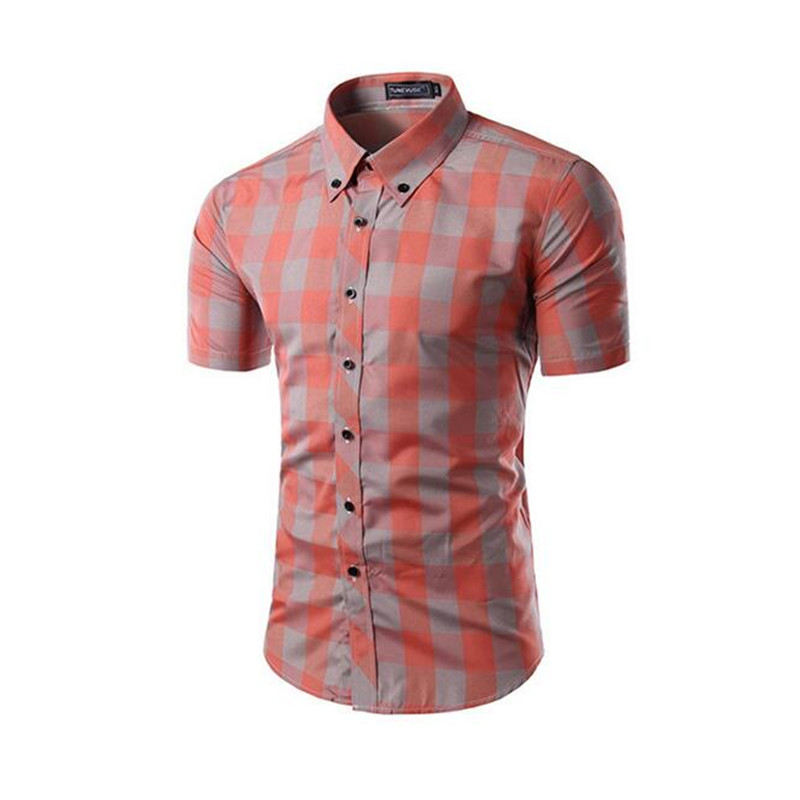 Men Short Sleeve Shirts Chemise Homme font b Plaid b font Shirt Camisas Hombre Vestir Men