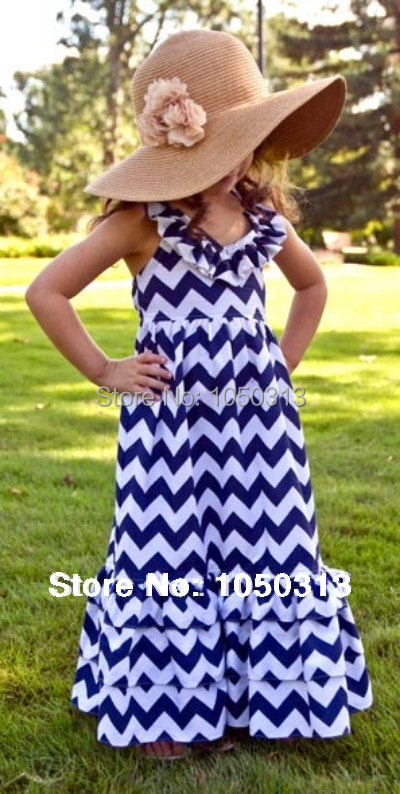 Navy blue halterneck Maxi Chevron Dresses for Baby to Big