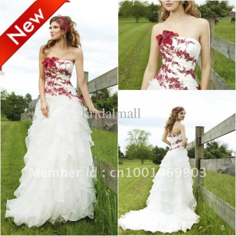 Strapless burgundy embroidered organza two tone white for Two color wedding dress