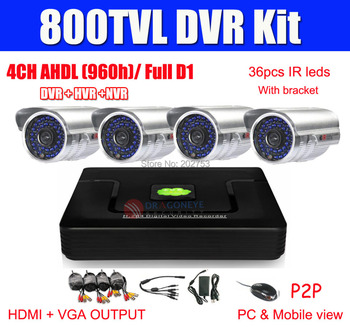 4CH CCTV System AHDL (960H) DVR Kit 4pcs 800TVL CCTV Cameras 4ch AHDL Full D1 DVR 1080P HDMI OUTPUT Security Camera System P2P