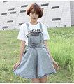 European style vintage Cotton denim women braces skirts fashion leisure impire solid boyfriend mini loose A