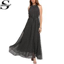 Sheinside Summer Sleeveless Polka Dot Maxi Dresses Bohemian Cute New Arrival Women's Sexy Loose Long Shift Dress(China (Mainland))