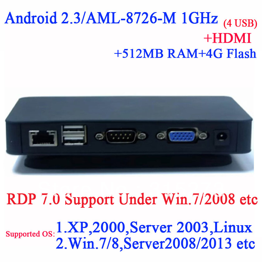 Android 2.3 TV box thin client with HDMI RDP 7.0 XP 2000 Server 2003 Windows 7 or 8 Server 2008 Linux support 512M Ram 4G TF(China (Mainland))