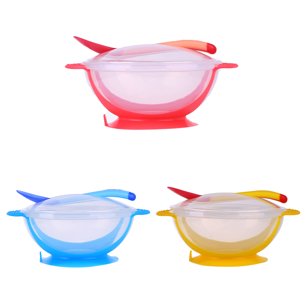 3Pcs/set Baby Tableware Dinnerware Suction Bowl with Temperature Sensing Spoon Baby Feeding Bowls