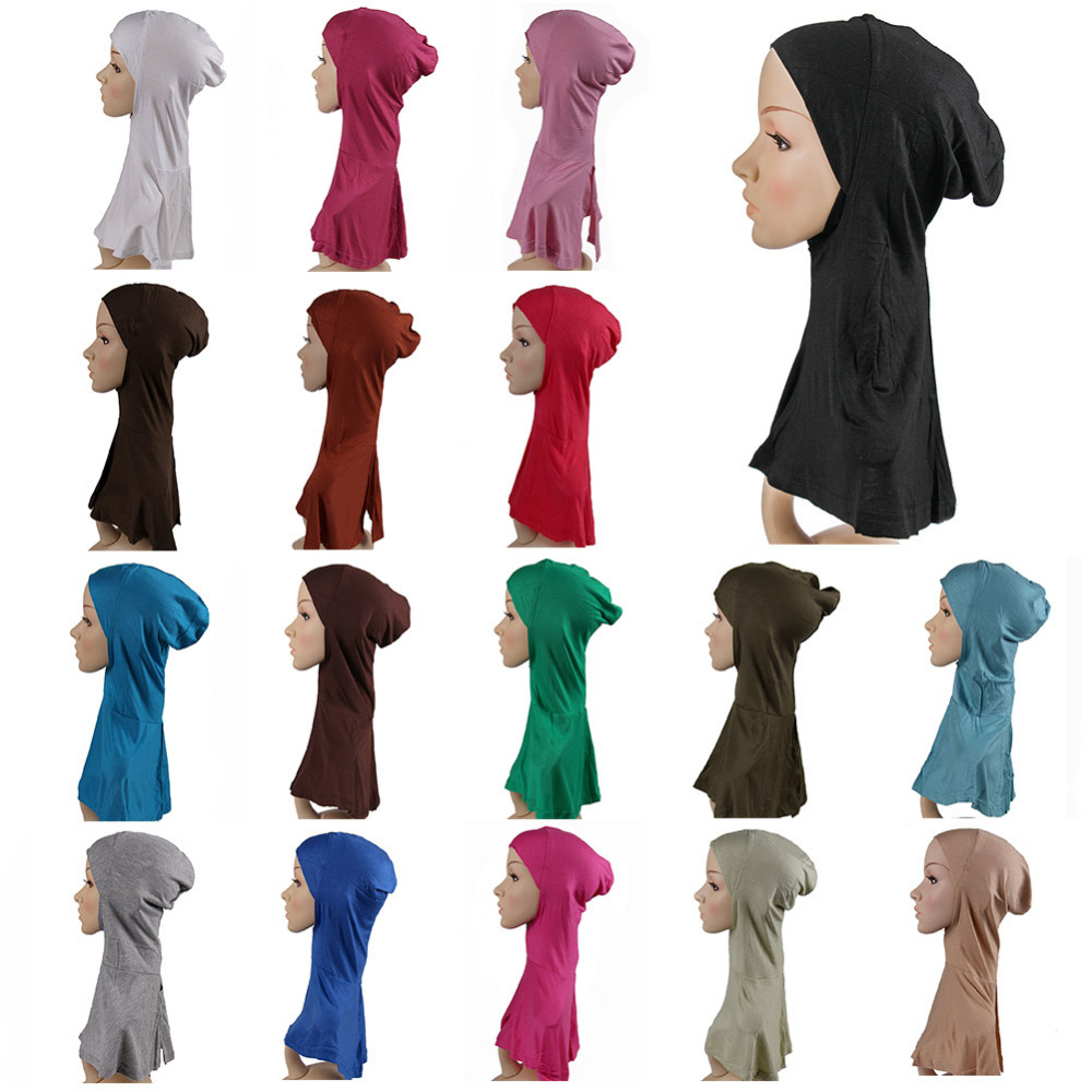 muslim scarf Dark Blue Dark Blue Muslim Women's Neck Cover Islamic Underscarf Ninja Inner Hijab Cap Plain Hat Cap Scarf Bonnet(China (Mainland))