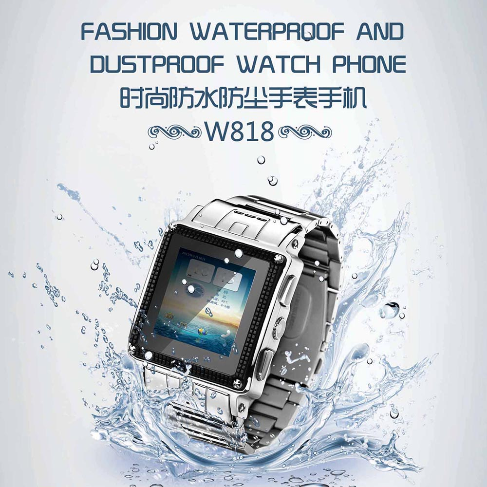 NEW Quad Band Stainless Steel IP67 Waterproof Smart Watch GSM Stainless Steel Mobile Phone W818 Thick Band, Camera, Java, MP34(China (Mainland))