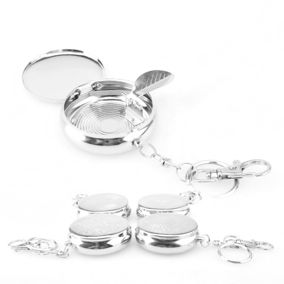 Useful Portable Pocket Stainless Steel Round Cigarette Ashtray With Keychain OD#S(China (Mainland))
