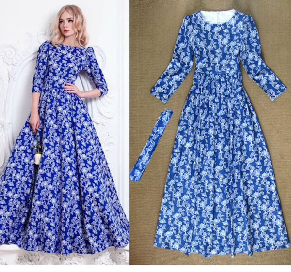 New womens dress 2015 autumn and winter womens clothing Russia beautiful Saika print dress big swing long dress free shippingОдежда и ак�е��уары<br><br><br>Aliexpress
