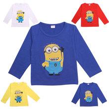 Boys T-Shirt Minions Long Sleeve T-Shirts For Girls Boys Tops Kids Tees Children's Clothing Baby Boy Girl Clothes Minion T Shirt(China (Mainland))