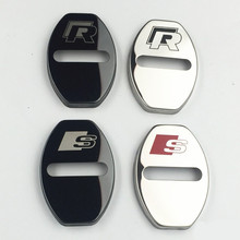 GR-DL26 Stainless Steel car Door lock Decoration Protection cover Volkswagen VW AUDI Skoda Seat styling - GUO R store