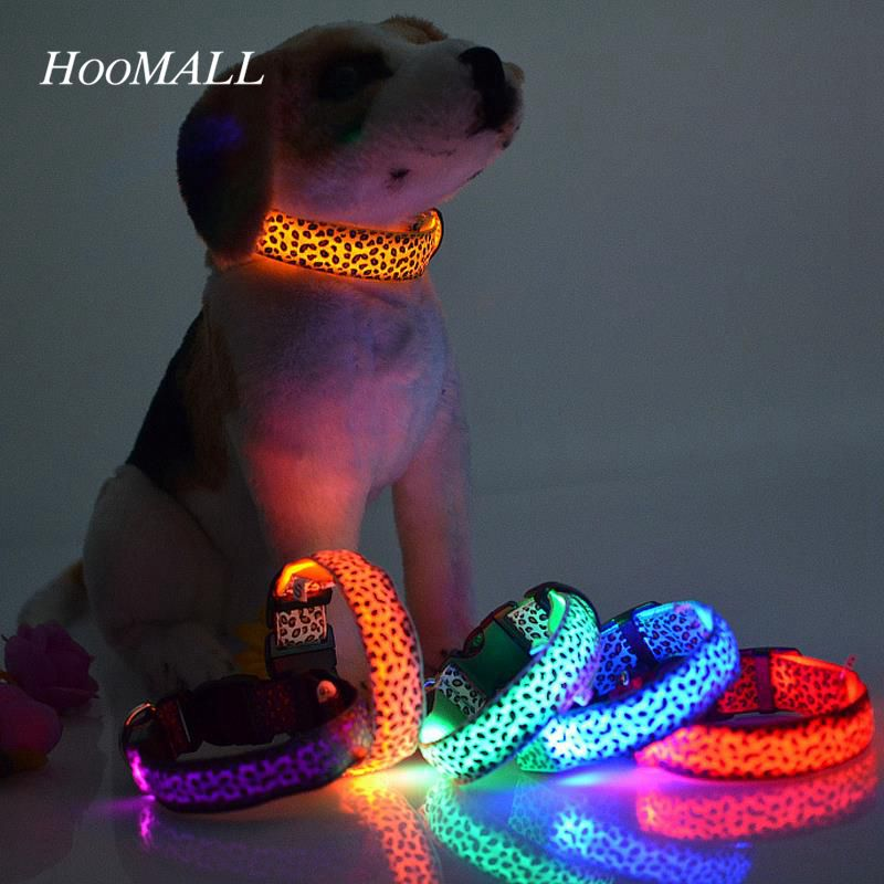 Safety LED Nylon Pet Dog Collar LED Light Flashing In Dark Leopard Series Pet Collar 2.5cm Wide Pet Products(China (Mainland))