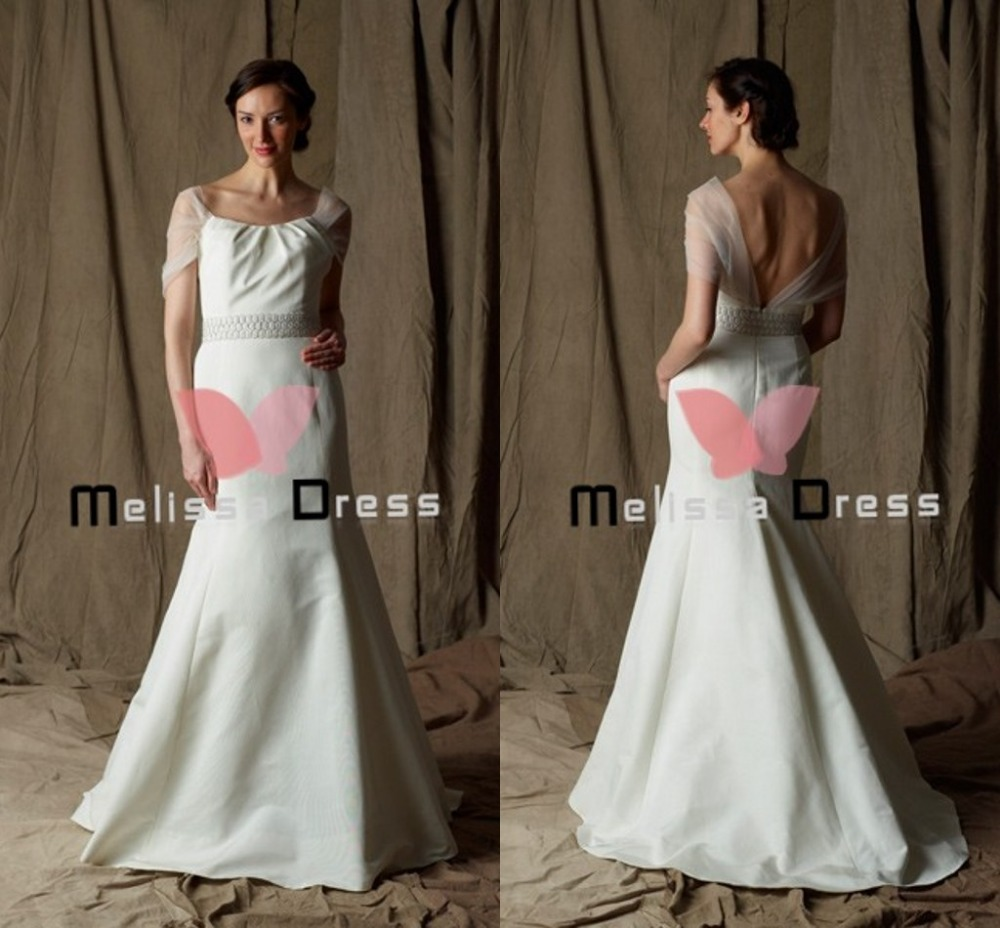 Hot sale Best Selling A-Line scoop Floor Length Open back Net Elements Long Train Wedding Dress 2015 newest(China (Mainland))